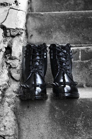 ByTheR Classic Style Black Metal Studded Real Leather Boots