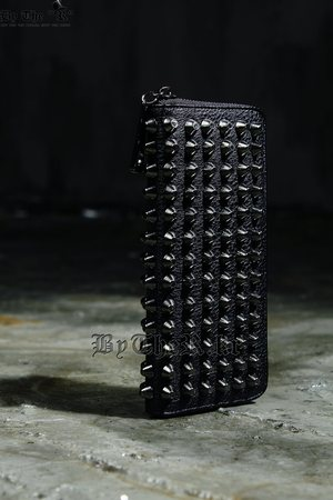 Hard Studded Custom Detail Black Faux Leather Wallet