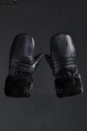 Leather Faux Fur Warm Black Gloves