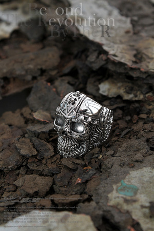ByTheR SM Skull Shape Helmet Thick Silver Color Coated Ring