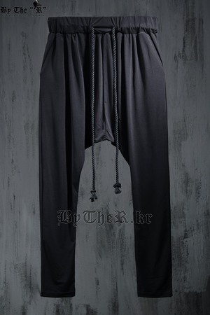 ByTheR Avant Garde Style Rope Detail Black Baggy Pants