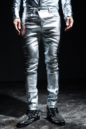ByTheR Metallic Silver Foil Coating Skinny jean