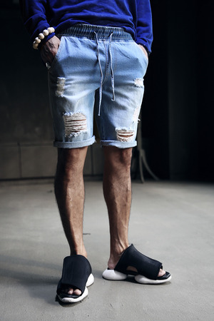 Damaged Denim Blue Cotton Vintage Style Waistband Shorts