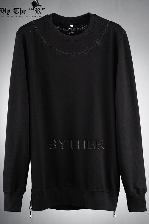 Embroidered Thorn Chain Detail Side Zipper Sweatshirts
