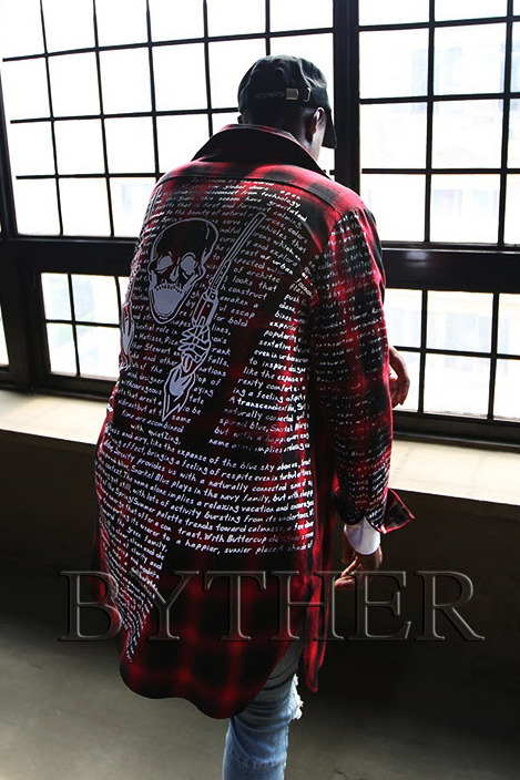 Back illustration Lettering Custom Long Tartan Shirts