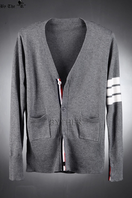 Sleeve cardigan with white lines