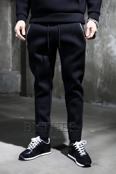 Pocket Zip Neoprene Jogger Pants