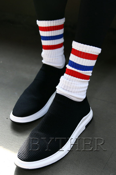 Triple Two Tone Line Socks