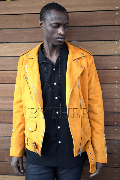 Suede Zipper Belt Rider Jacket-z