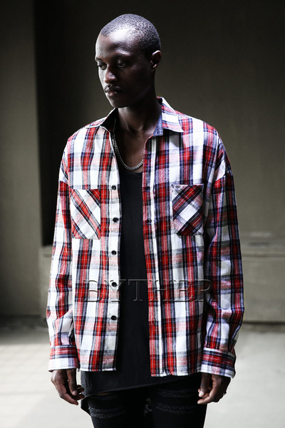Back Zipper Tartan Check Shirts