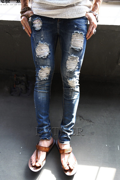 Damaged Lettering Patch Jean