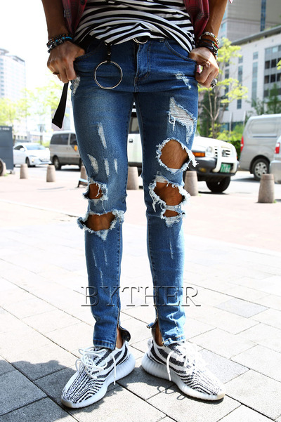 Double Damaged Washing Denim Pants