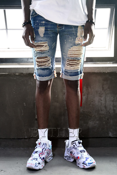 Hard Damaged Denim Roll-up Shorts