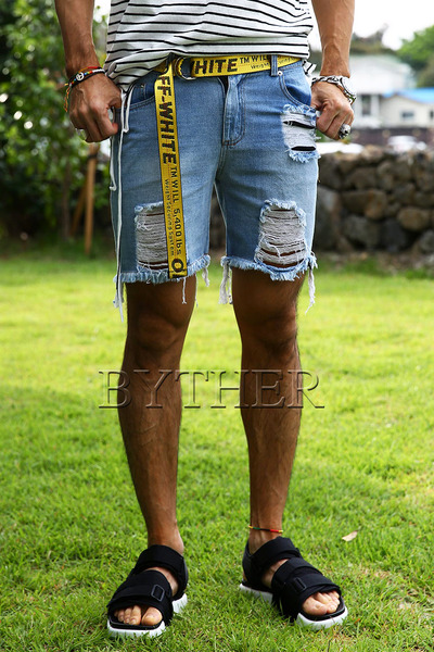 Damaged Hemline Jean Shorts (Belt for Gift)