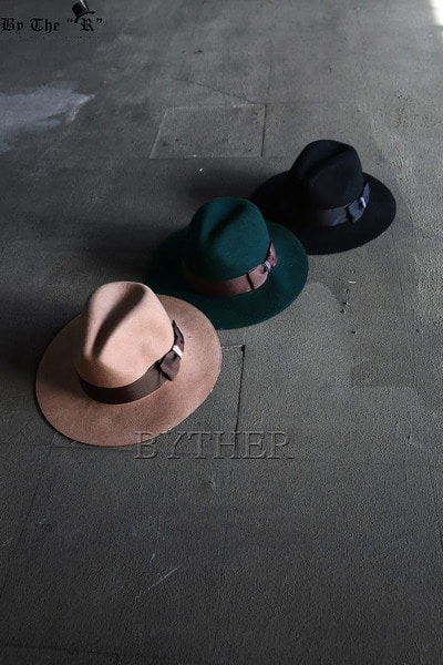 ByTheR Patterned Brim Ribbon Round Fedora Hat