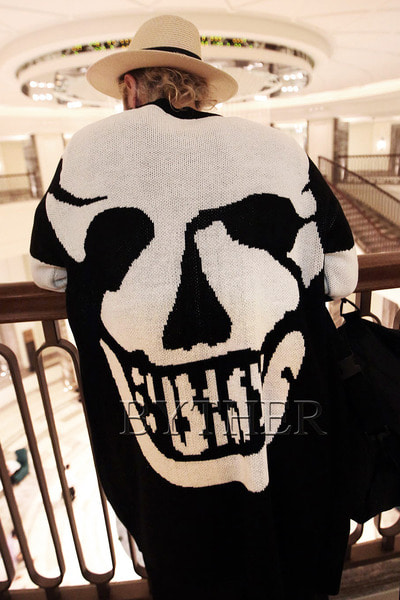 Skull Printed Long Knit Cardigan