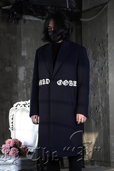 Hardcore Lettering Navy Overcoat