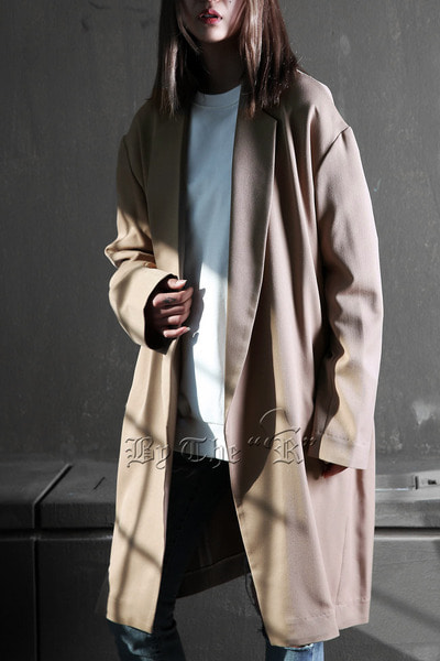 Rayon Beige Loose-fit Coat