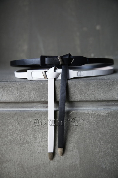 Solid Leather Long Detailed Belt