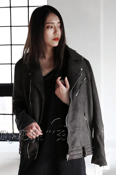 Dark Suede Embossed Double Line Rider Jacket