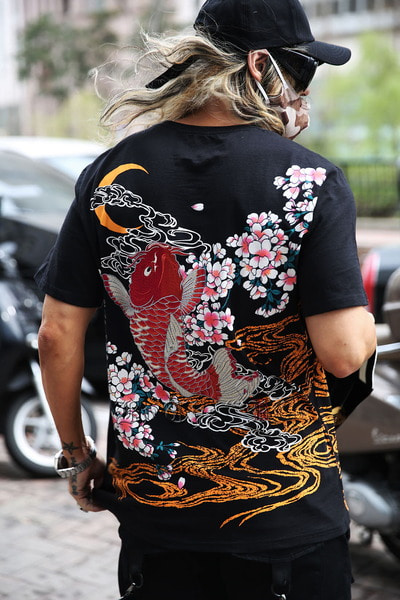 ByTheR Sakura Goldfish Moon Irezumi T-shirt