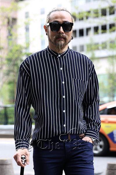 Monotone Stripe Stand-Collar Shirts