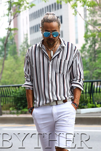 Barcode Striped Loose Fit Shirt