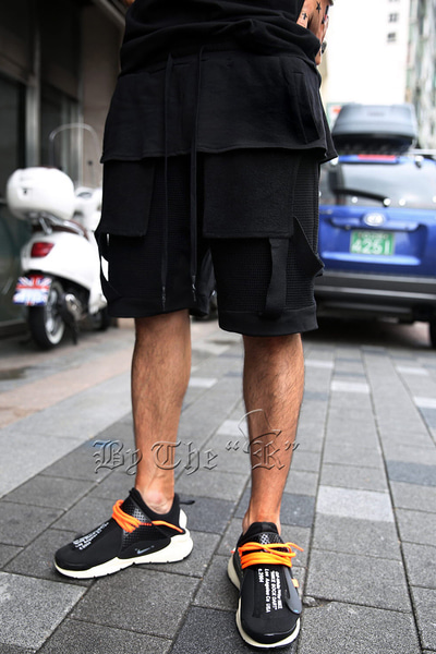 Fishnet Layered Banding Shorts
