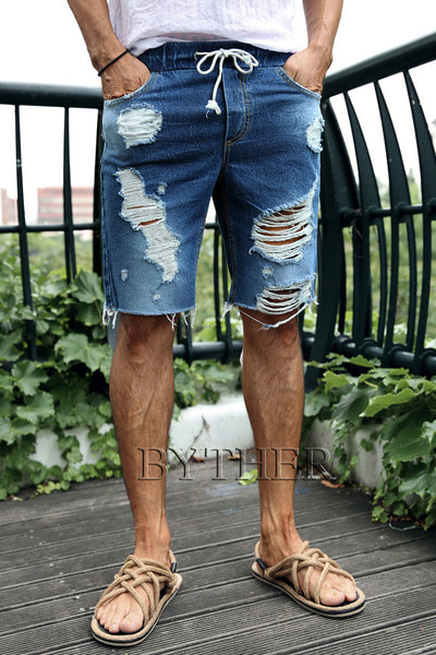 Vintage Damaged Denim Shorts