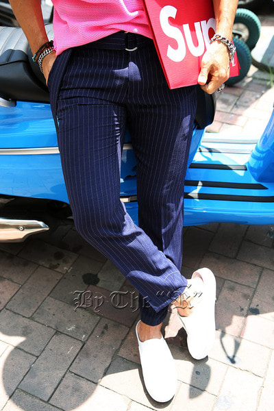 Pencil Pinstriped Slacks with Ring Belt