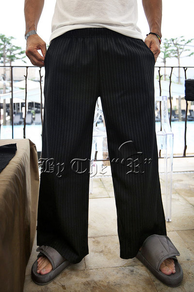 Pinstriped Wide Banding Pants