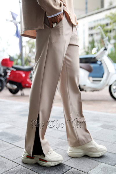 Side Color Slit Slacks