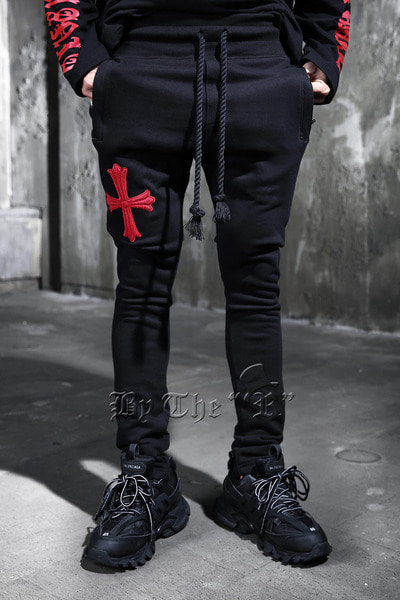 ByTheR Red Cross Embroidery Training Pants