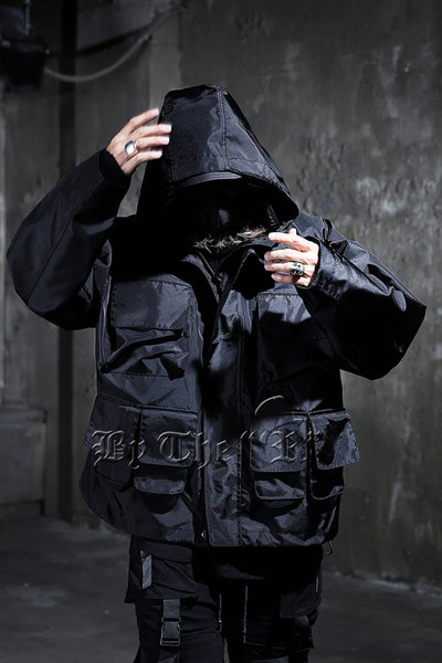 Techwear Waterproof Windbreak Amo Pocket Parka Jacket