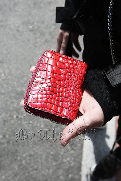ByTheR Red Leather Zipper Wallet