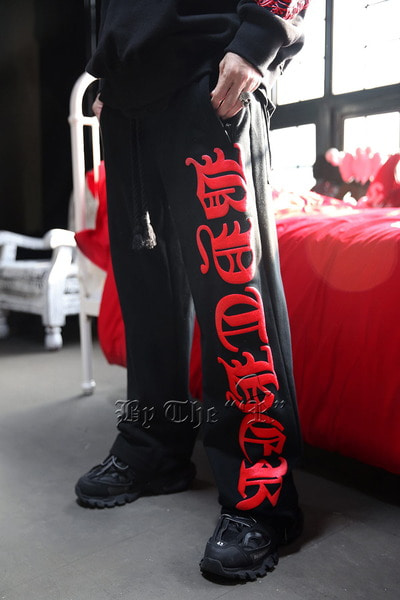ByTheR Red Letter Logo Loose Training Pants