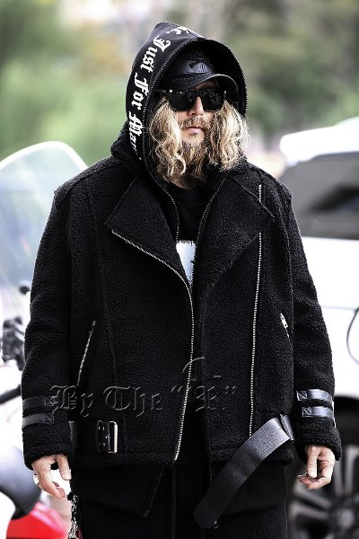 Leather Belted Fleece Shearling Jacket