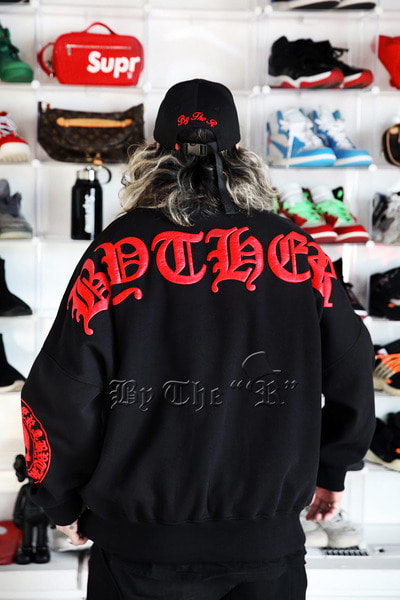 ByTheR Red Logo Embossed Print Sweatshirts