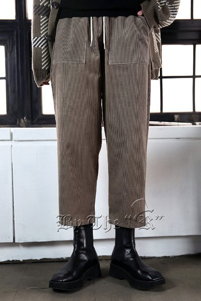 Square Pocket Corduroy Bending Wide Pants