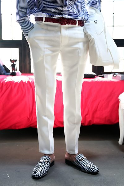 Ivory Classic Slim Straight Slacks Pants