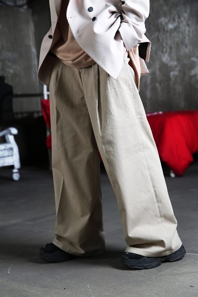 Double Wrinkle Detail Wide Pants
