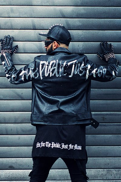ByTheR Custom Slogan Sleeve Hand Painted Python Jacket