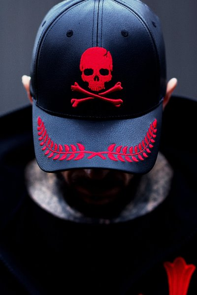 ByTheR Laurel Leaf Skull Leather BallCap