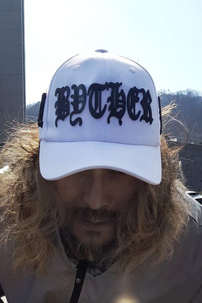 ByTheR Black Lettering Embroidered White Ball Cap