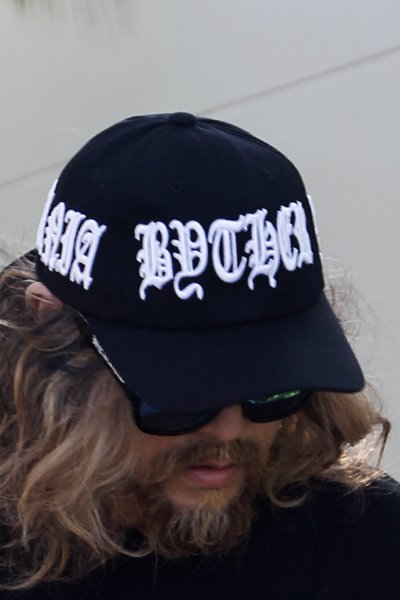 ByTheR White Lettering Embroidery Black Baseball Cap