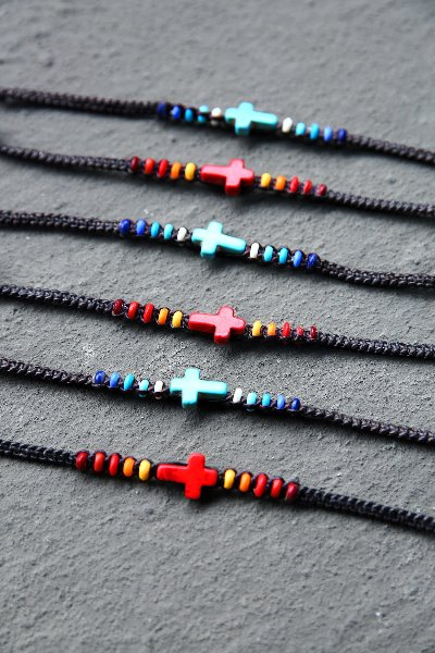 Cross Stone Pendant Hand-made Bracelet