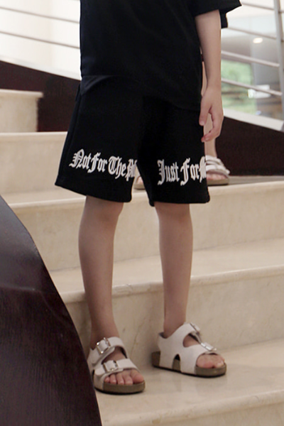 ByTheR Kids Front Slogan Embroidery Shorts