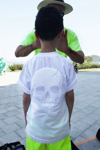 ByTheR Kids White Calf Hair Skeleton Skull T-shirt