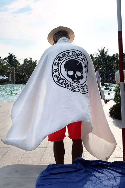 ByTheR Skull Logo Oversized White Beach Towel