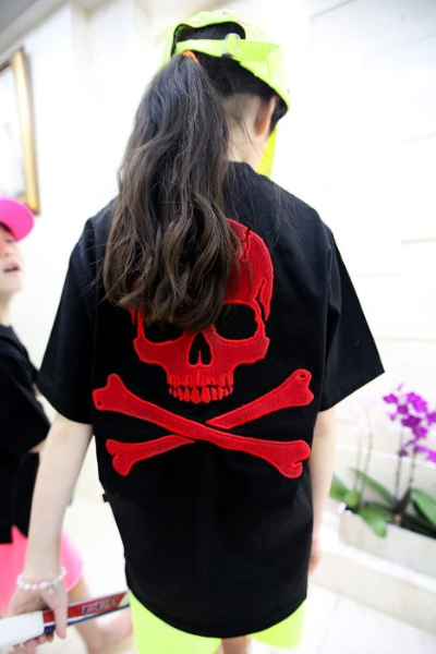 ByTheR Kids Red Calf Hair Skeleton Skull T-shirt